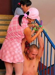 Eurobabes in School Girl Clothes Humiliate Flasher Perv in CFNM Femdom Style^Tyrannized Femdom porn xxx sex free pics picture pictures gallery galleri