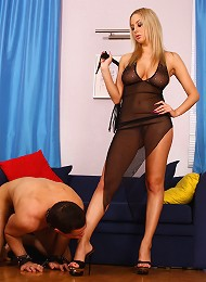 Russian mistress almost squashes yelling slaves dick with her high heels^Russian Mistress Femdom porn xxx sex free pics picture pictures gallery galle