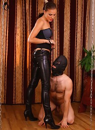 Masked slave with too much body hair lets his hot mistress step on his cock^Russian Mistress Femdom porn xxx sex free pics picture pictures gallery ga
